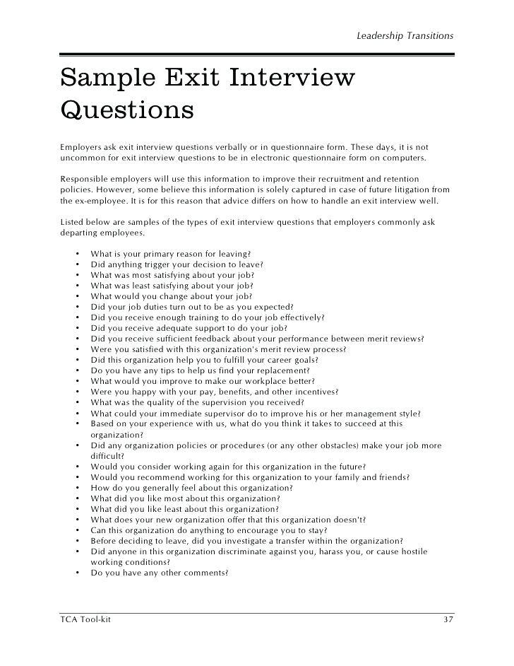Employee Interview Questionnaire Template