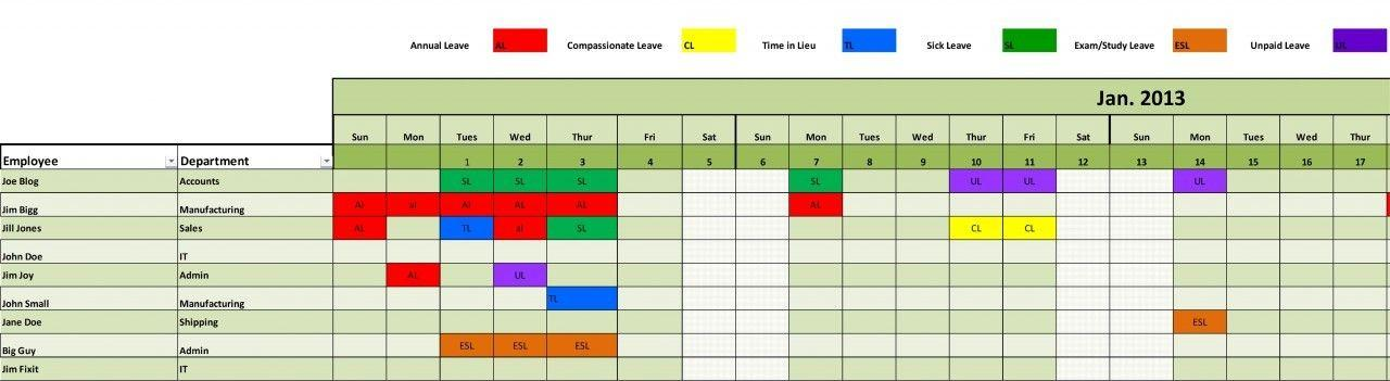 Employee Leave Schedule Excel Template