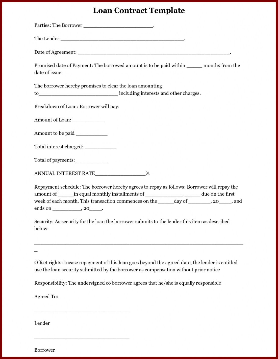 Employee Loan Promissory Note Template