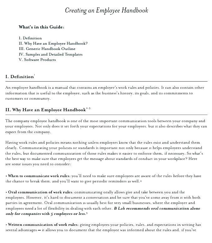 Employee Manual Sample Restaurant