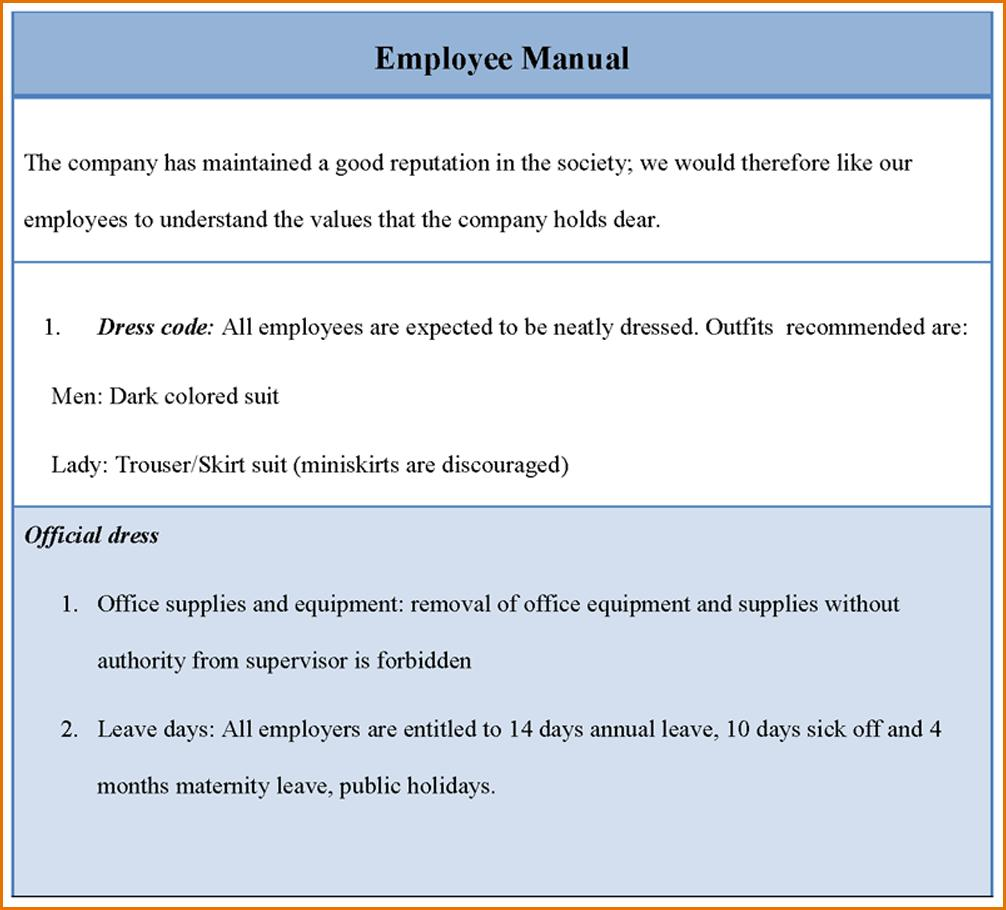 Employee Manual Template Word