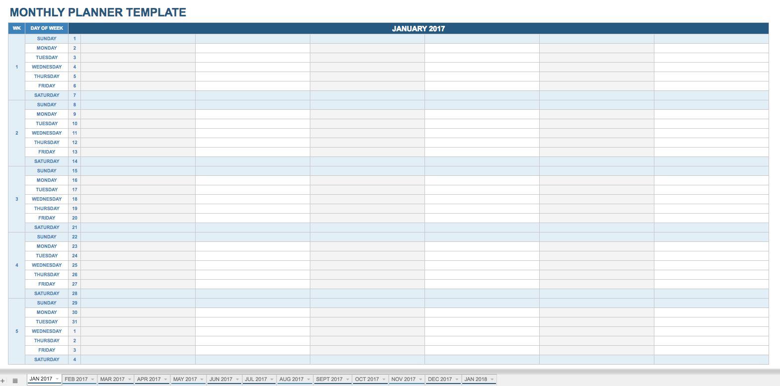 Employee Monthly Schedule Calendar Template