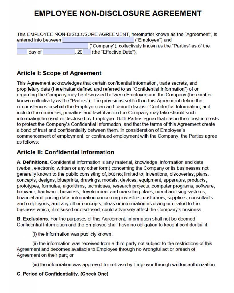 Employee Nda Agreement Template