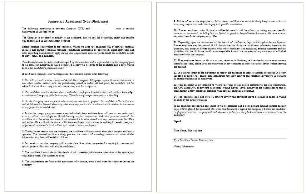 Employee Non Disclosure Agreement Template Free