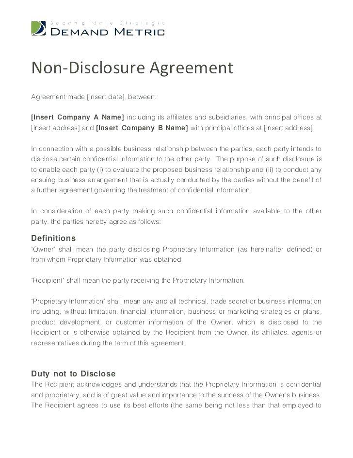 Employee Non Disclosure Agreement Template Word