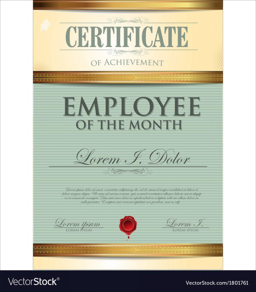 Employee Of The Quarter Certificate Template Free