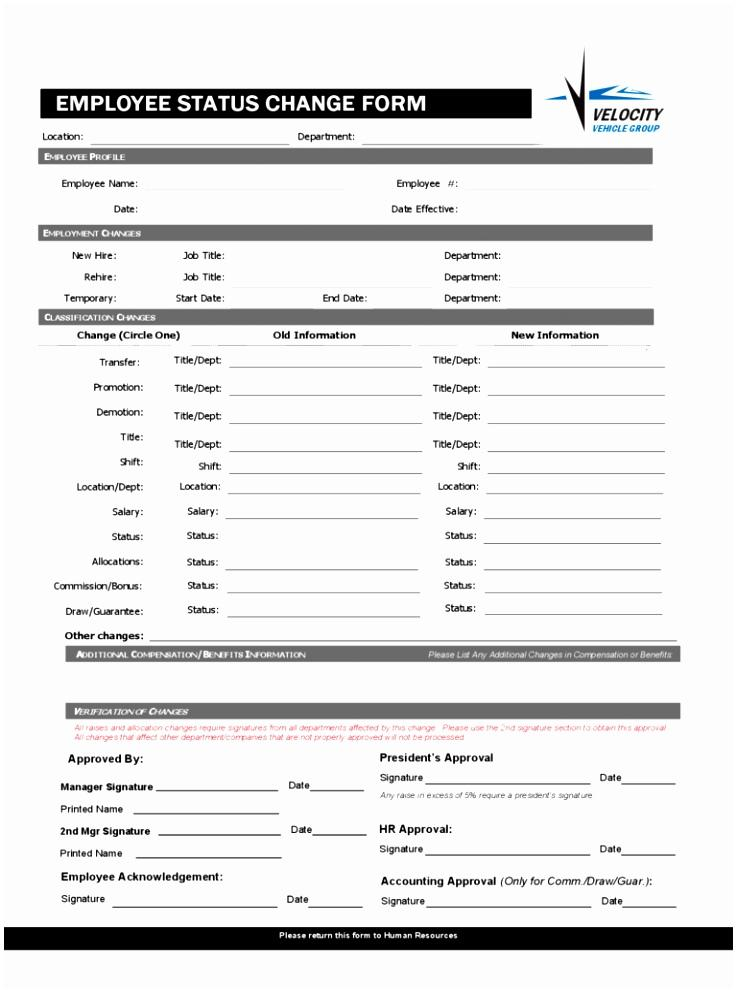 Employee Payroll Change Form Template