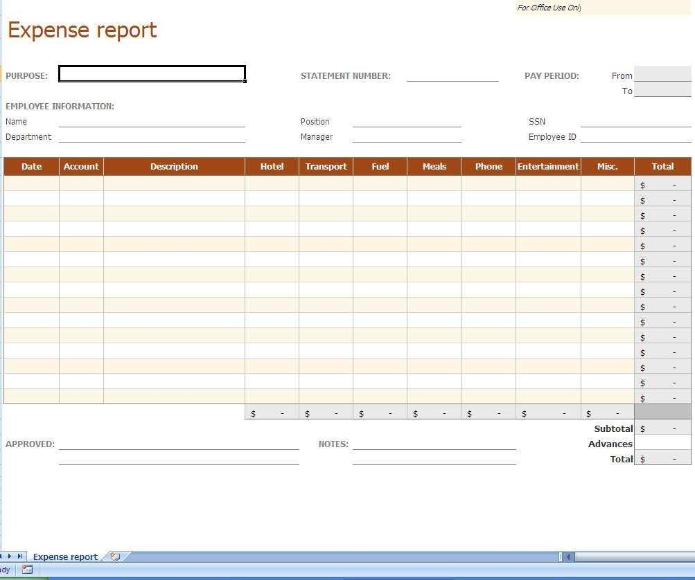 Employee Per Diem Expense Report Template
