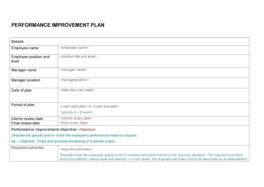 Employee Performance Improvement Plan Samples