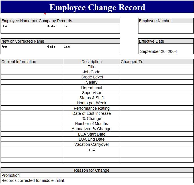 Employee Record Template
