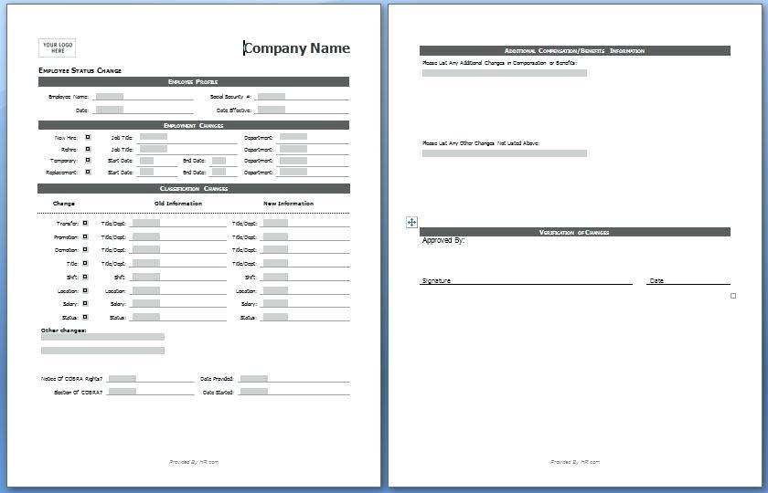 Employee Salary Change Form Template