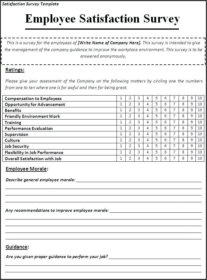 Employee Satisfaction Questionnaire Template