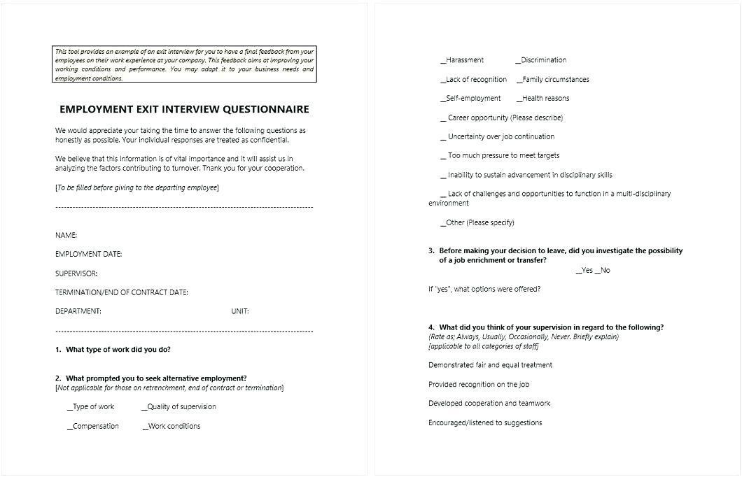 Employee Satisfaction Survey Form Pdf