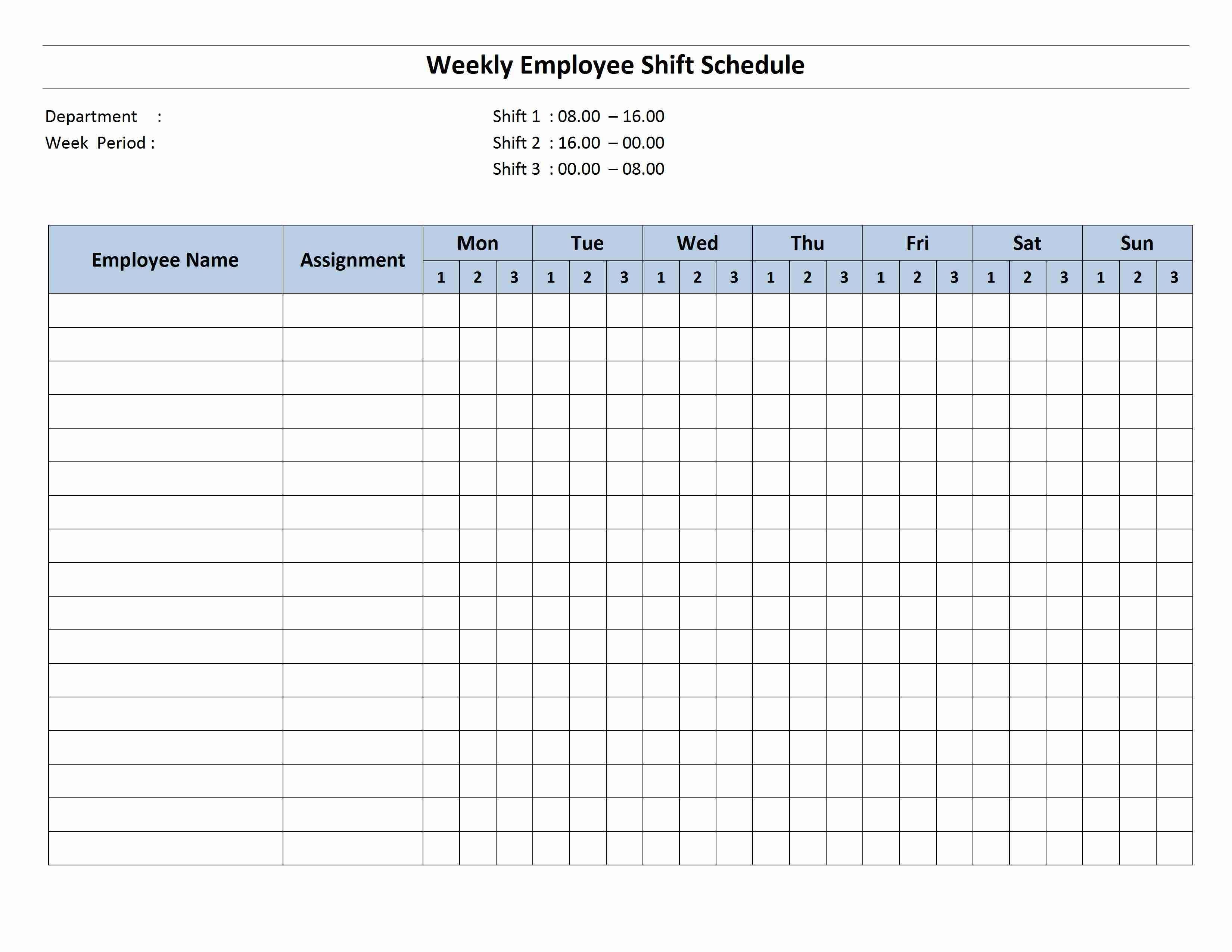 Employee Schedule Monthly Template