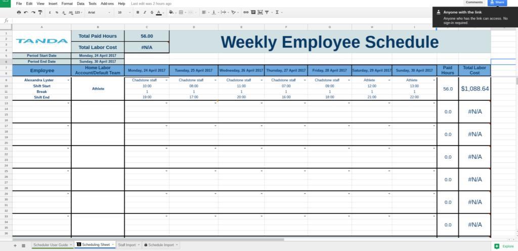 Employee Schedule Template Google Docs