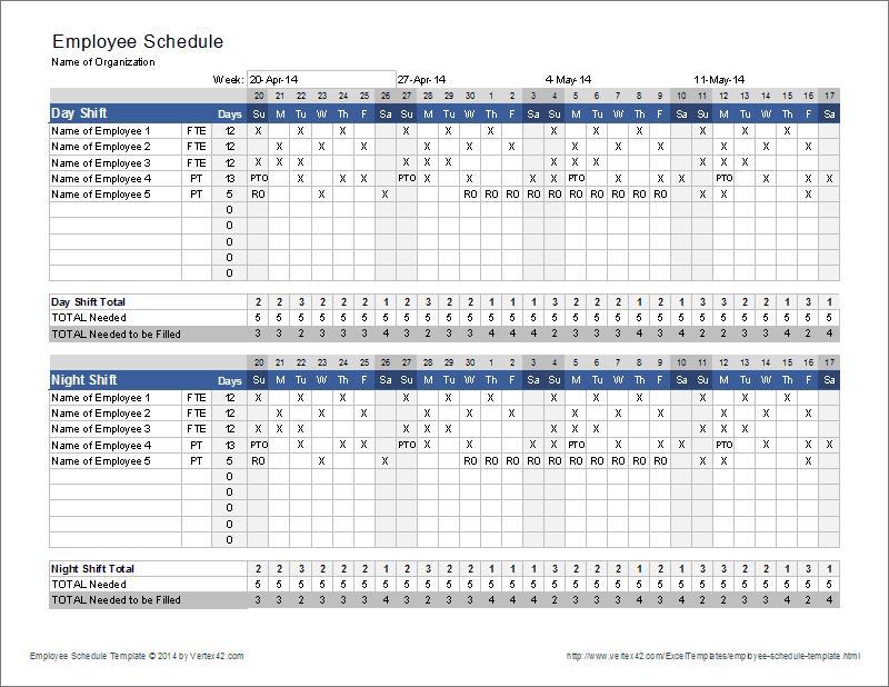 Employee Schedule Template Vertex42