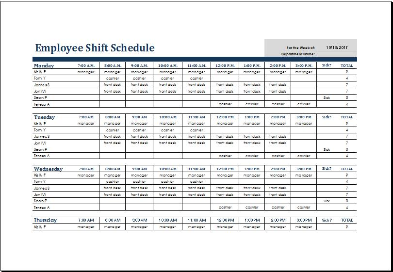 Employee Schedule Templates For Excel