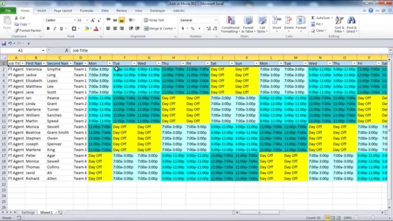 Employee Scheduling Excel Template