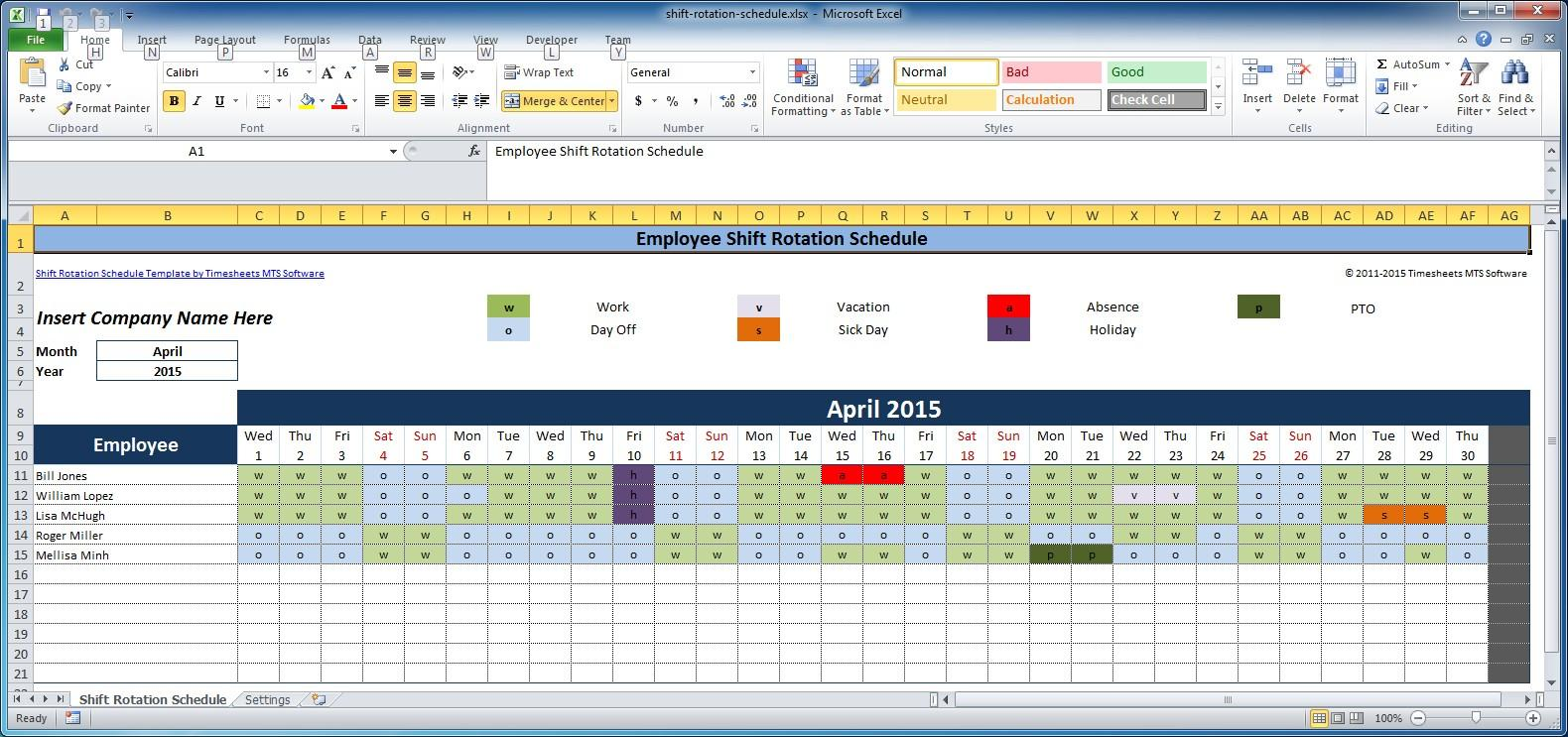 Employee Scheduling Template Excel