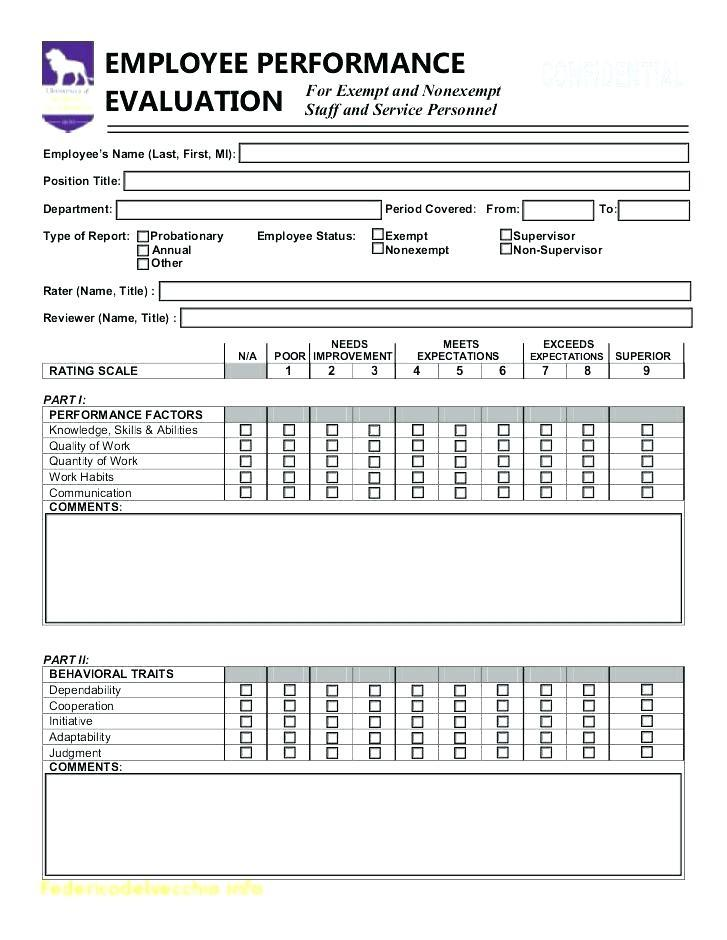 Employee Self Evaluation Form Word