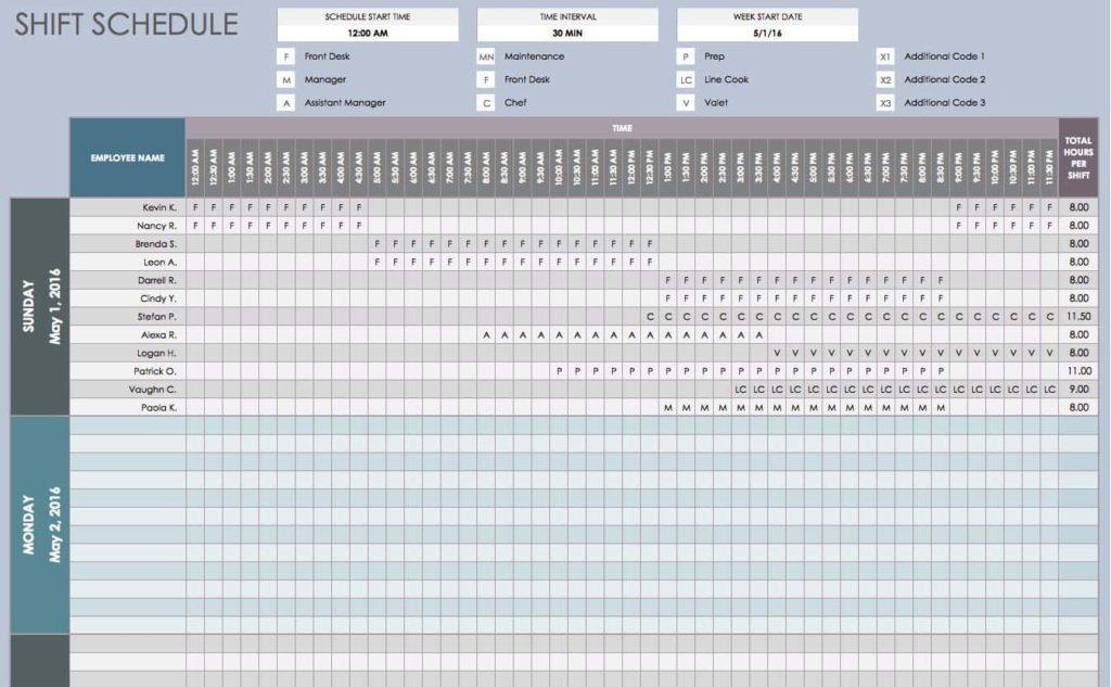 Employee Shift Planner Template
