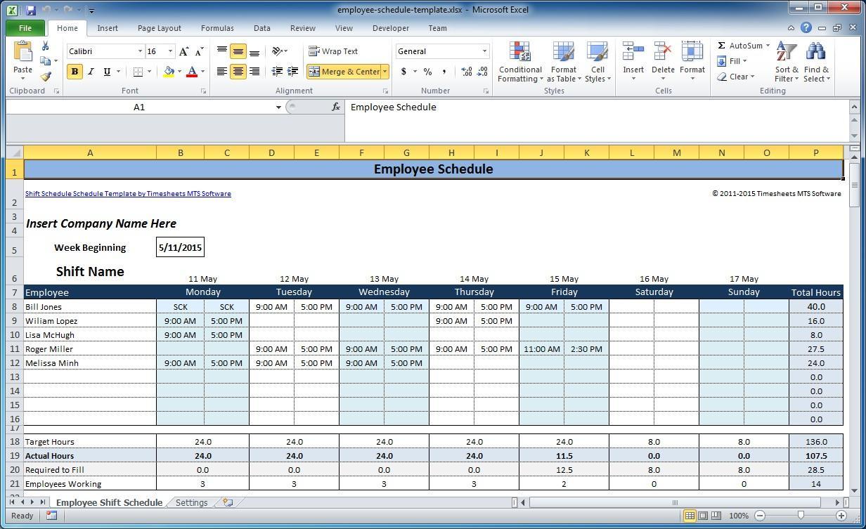 Employee Shift Schedule Form