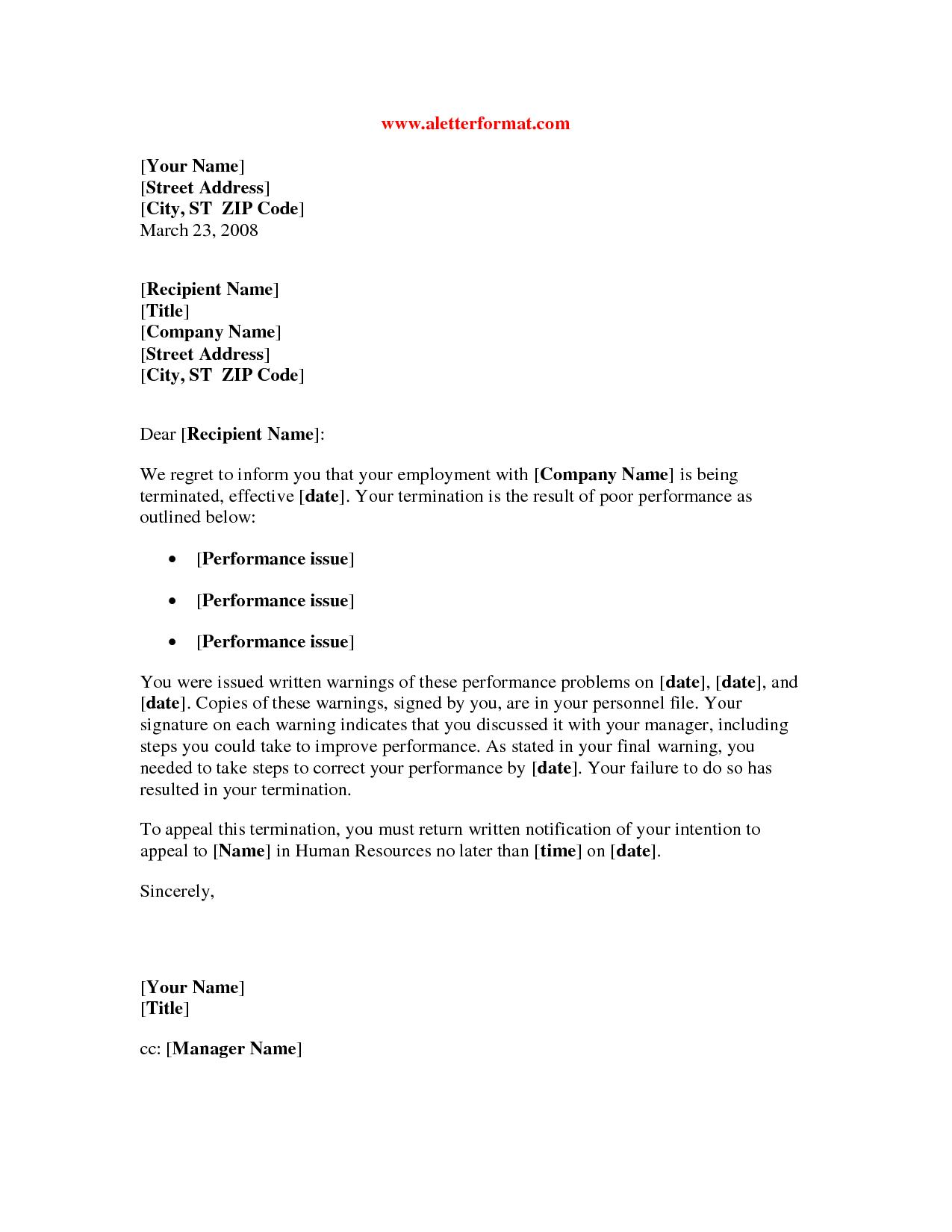 Employee Termination Letter Template Free