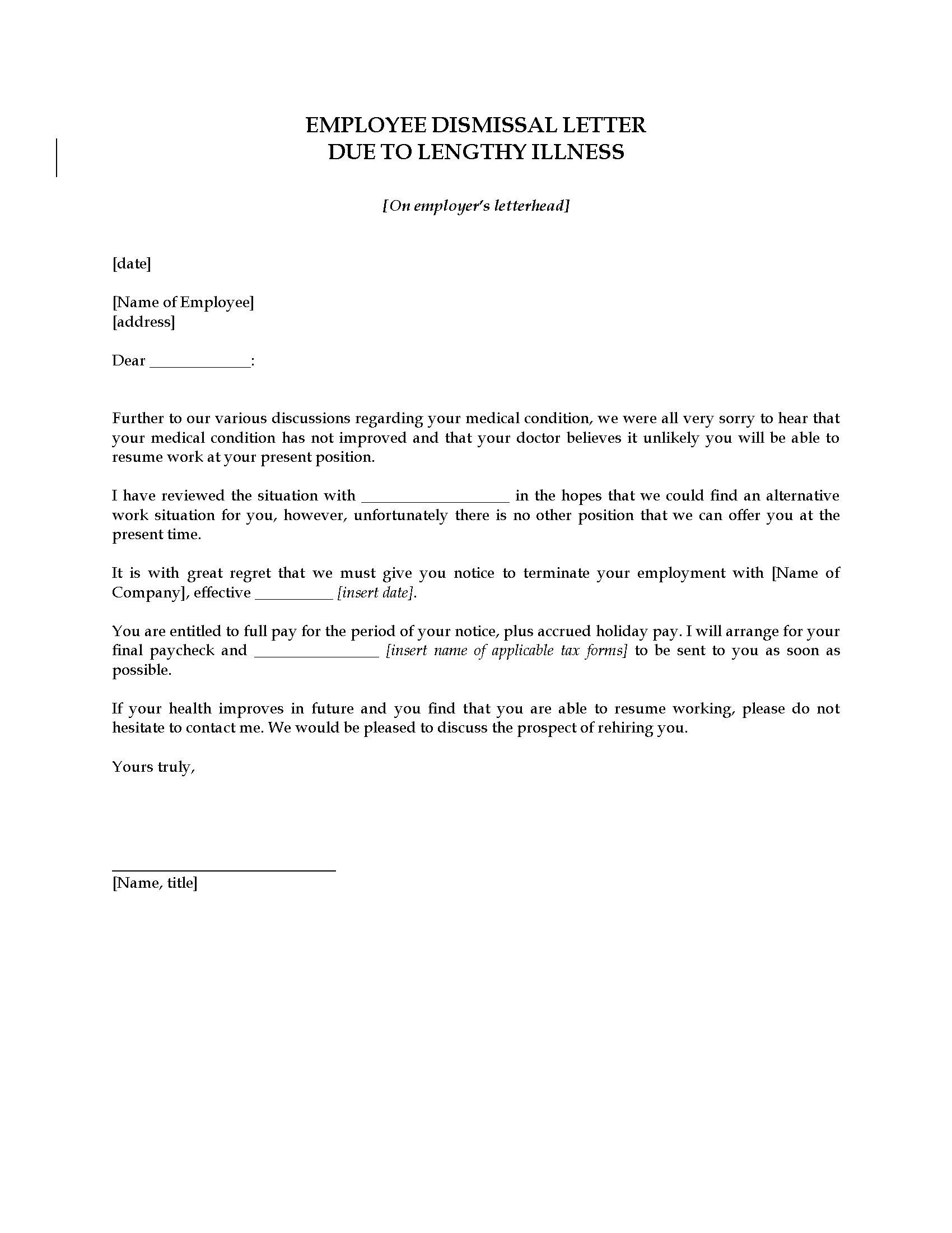 Employee Termination Letter Template Uk
