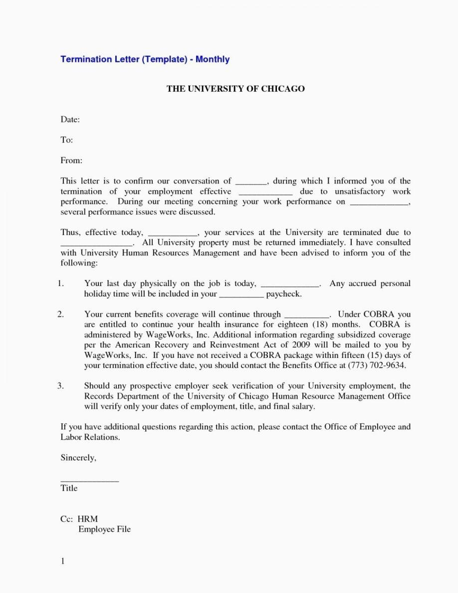 Employee Termination Of Employment Letter Template