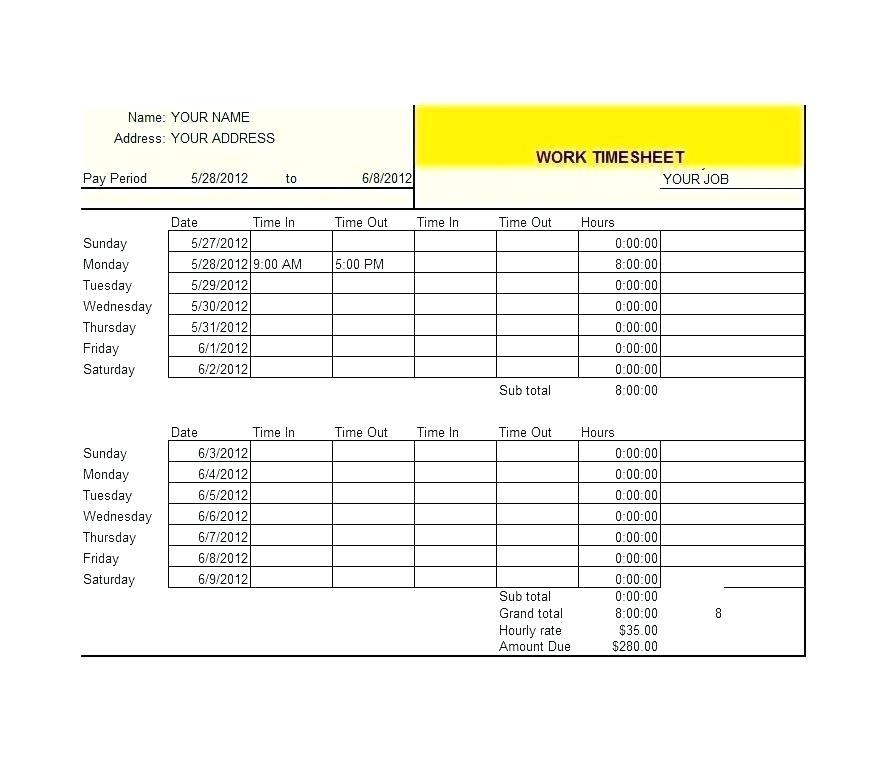 Employee Time Sheet Form Template