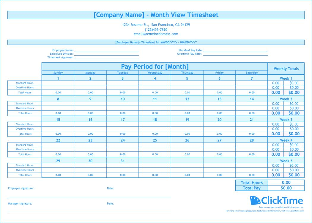 Employee Timesheet Template Monthly