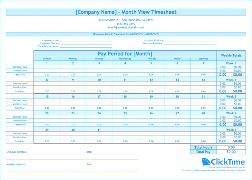 Employee Timesheet Template Numbers