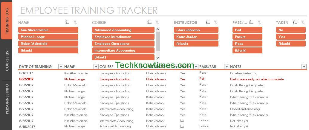 Employee Training Tracker Template Excel