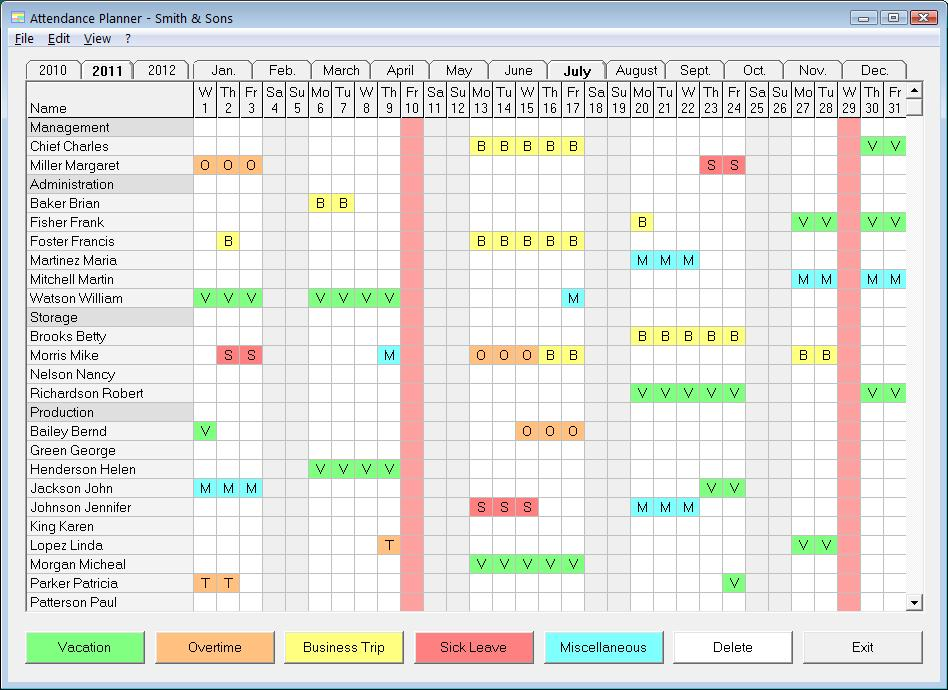 Employee Vacation Planner Excel Template