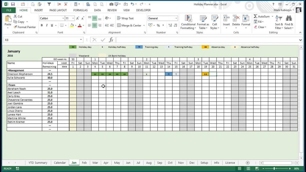 Employee Vacation Planner Template Excel Free