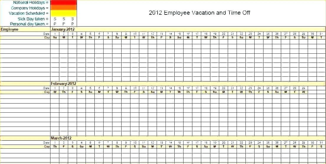 Employee Vacation Schedule Template Excel