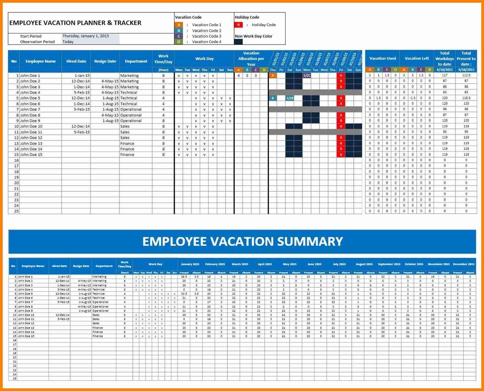 Employee Vacation Tracker Excel Template 2018