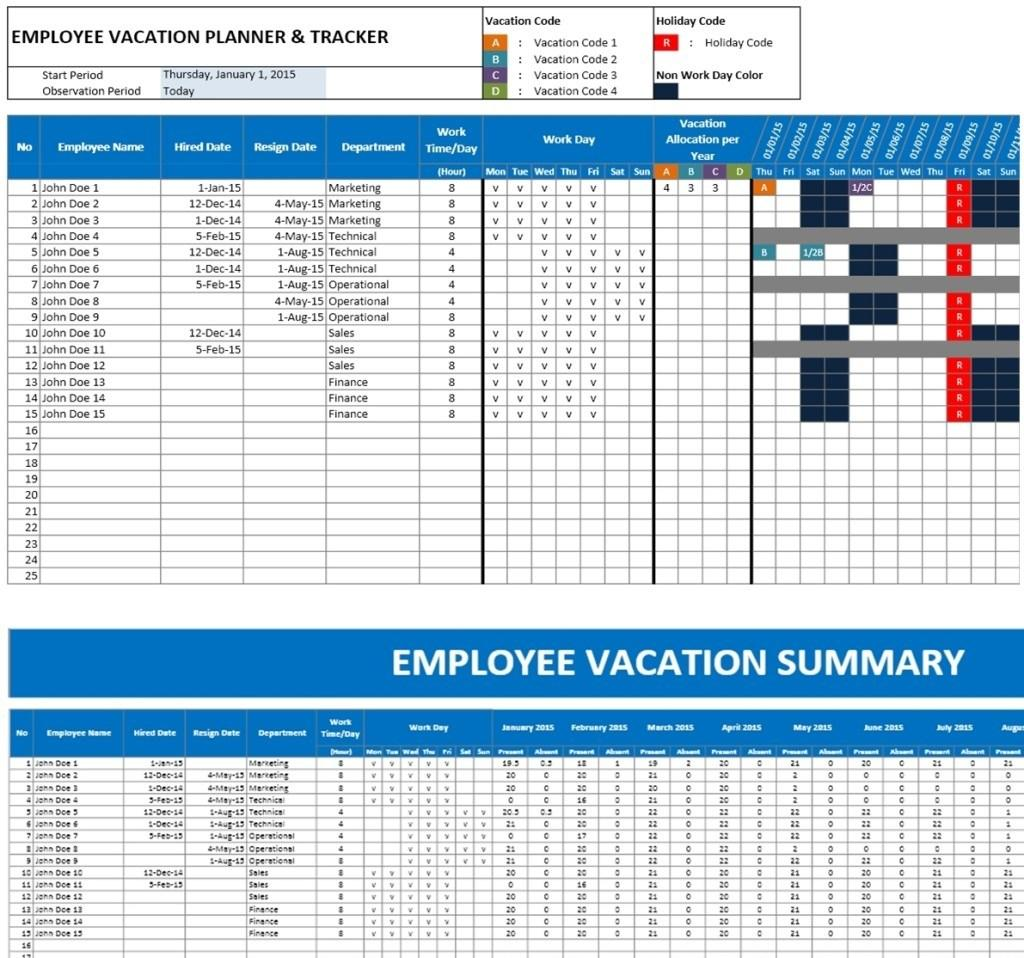 Employee Vacation Tracking Calendar Excel Template