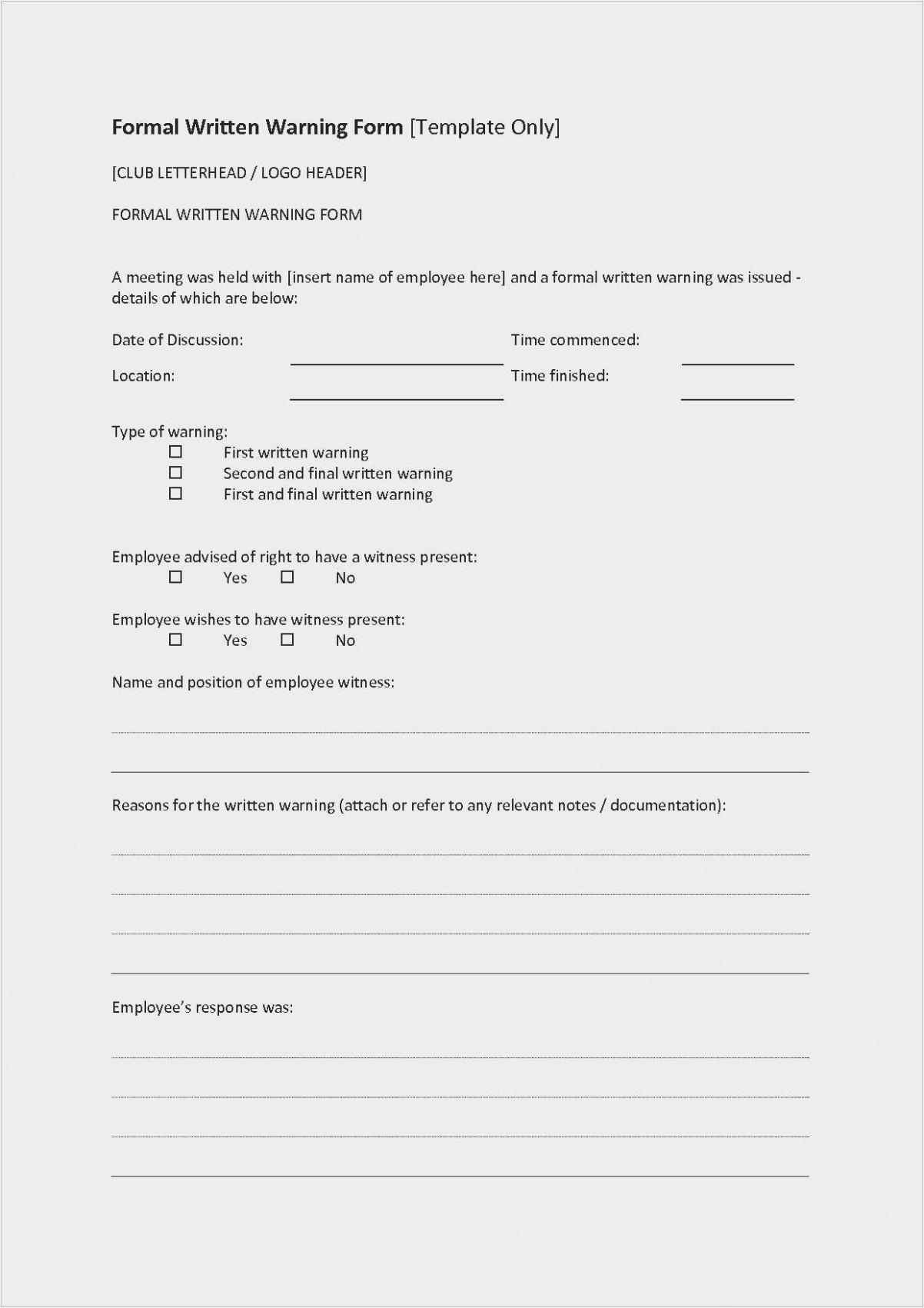 Employee Verbal Warning Form Template