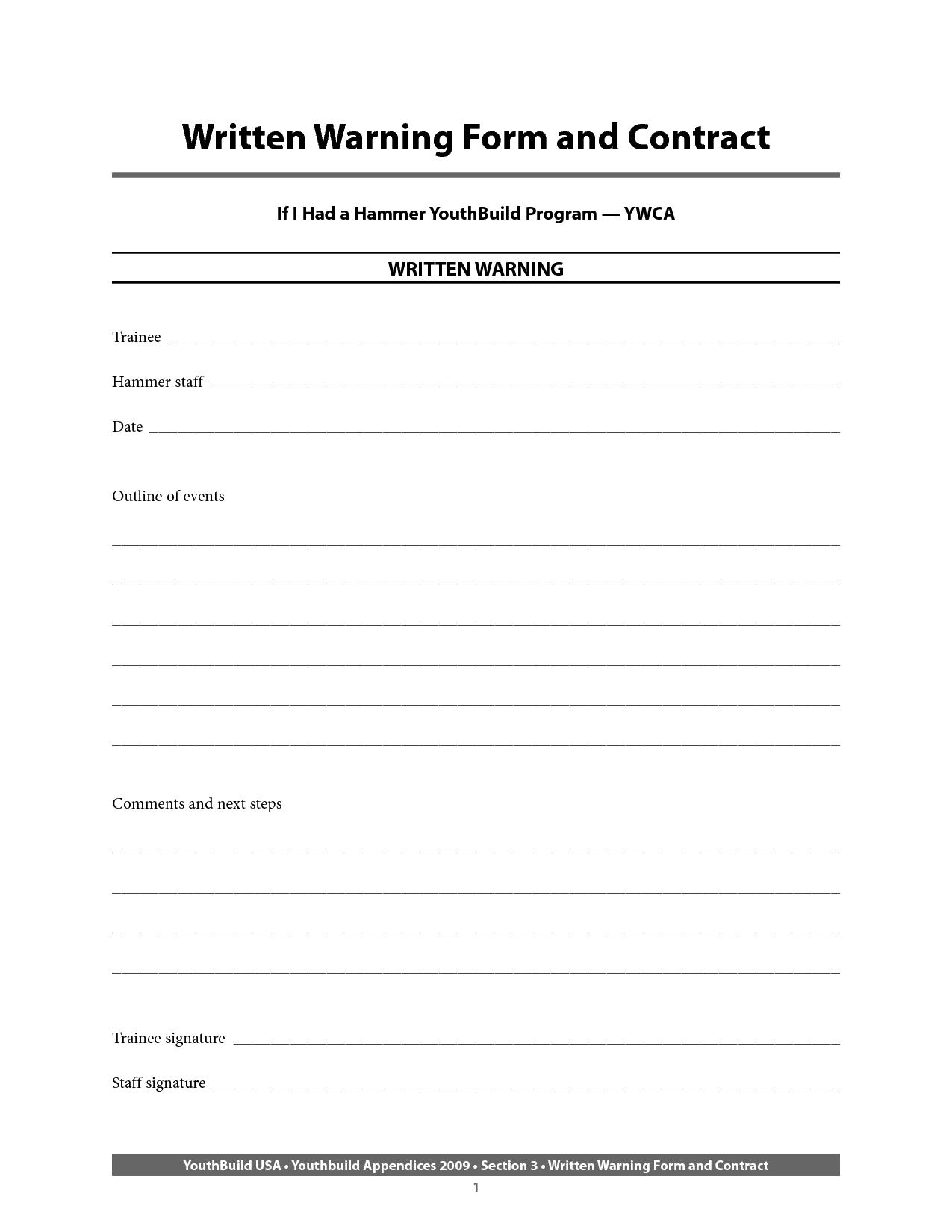 Employee Warning Form Template Free