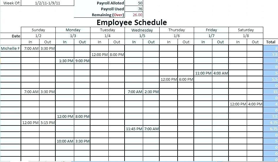 Employee Weekly Work Schedule Template Excel