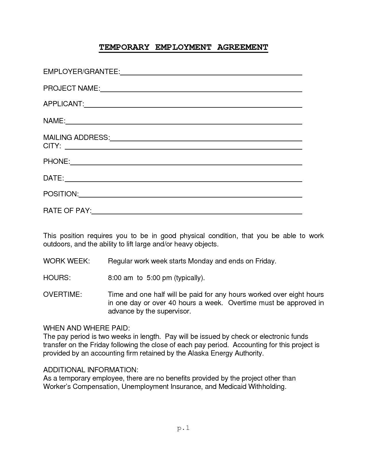 Employee Work Contract Template