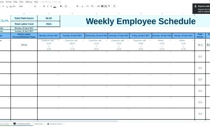 Employee Work Schedule Template Google Docs