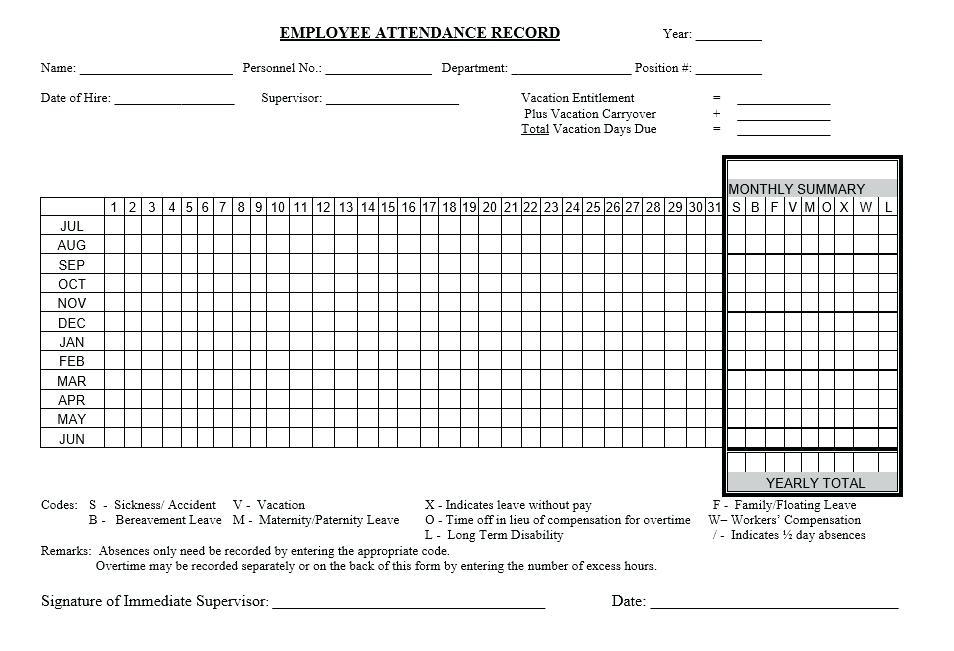Employee Yearly Attendance Sheet Template Excel