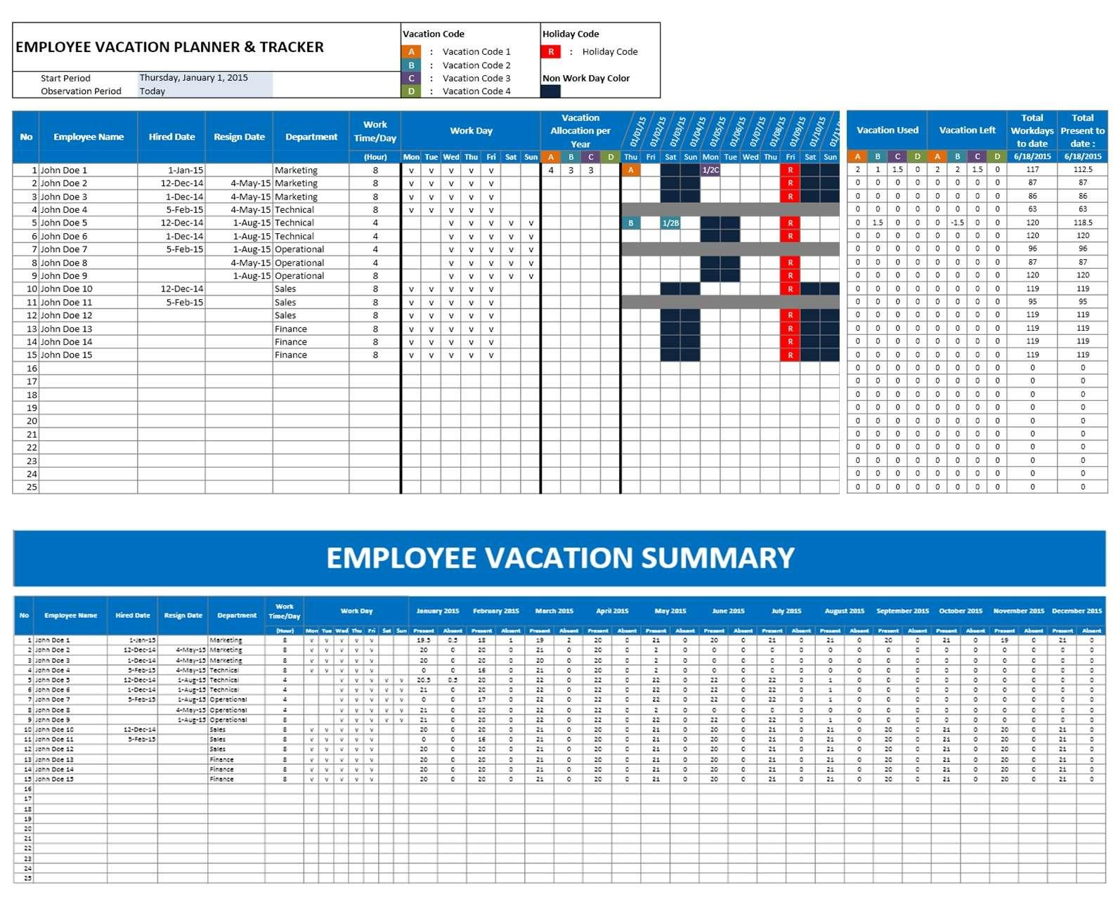 Employee's Vacation Tracking Template