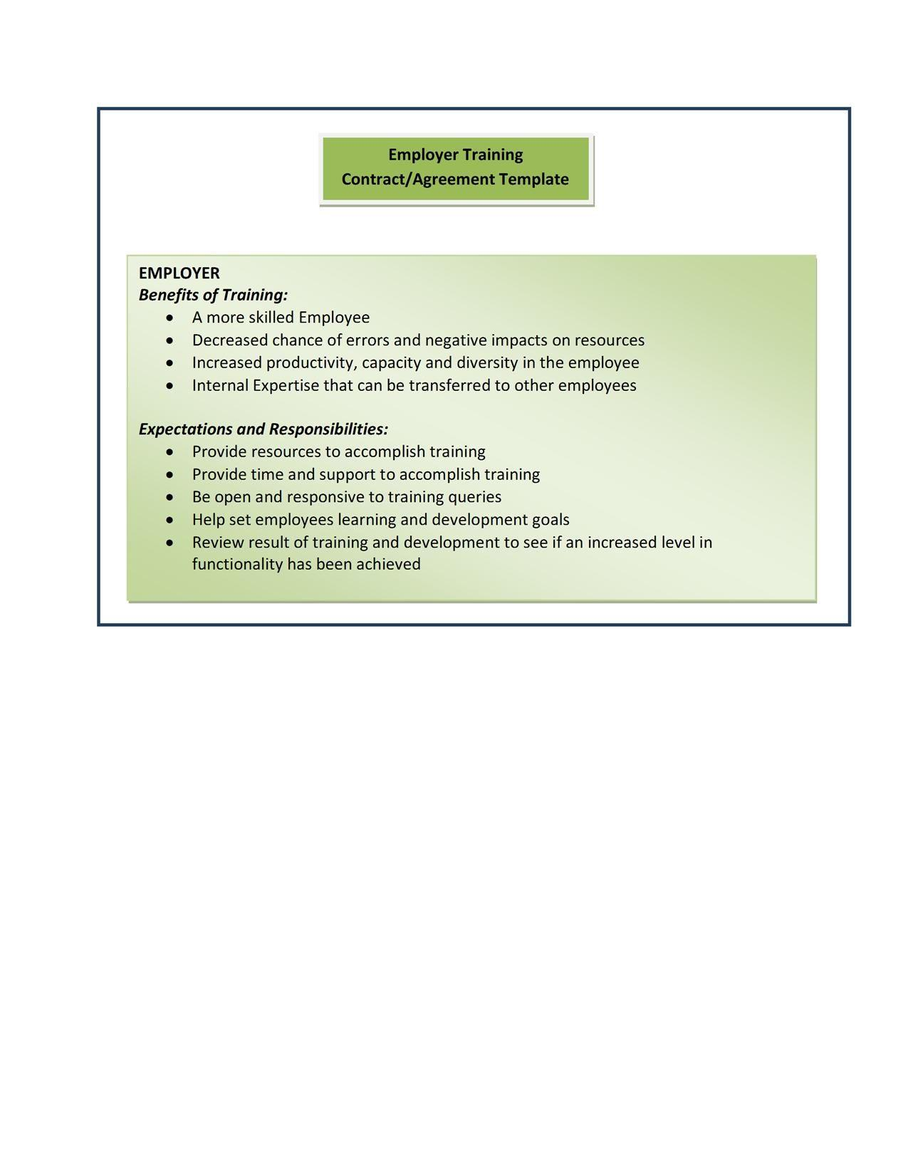 Employer Training Contract Template
