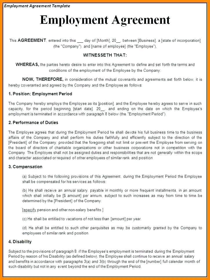 Employment Contract Template Free Download