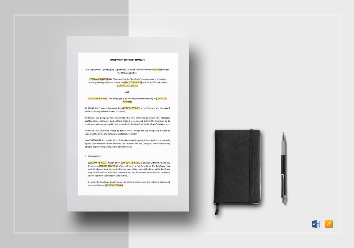 Employment Contract Template Google Docs