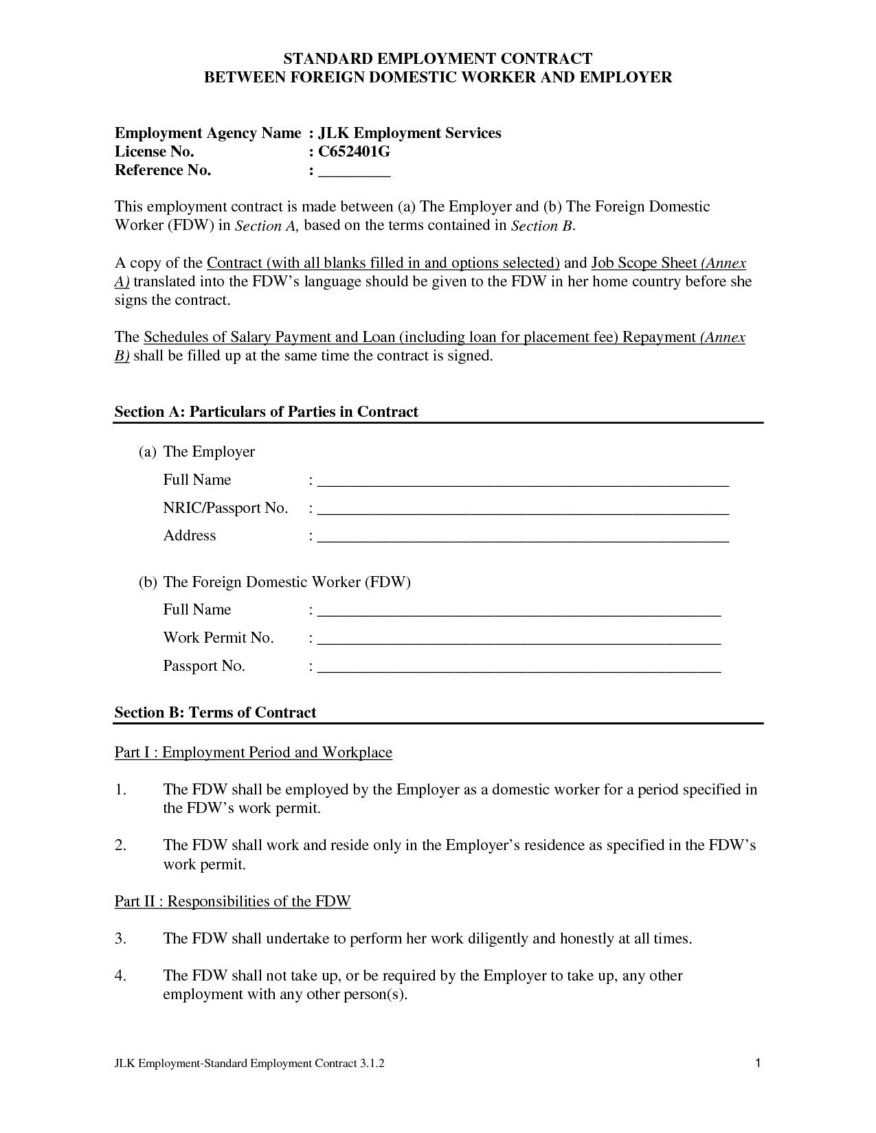 Employment Contract Template Word Free