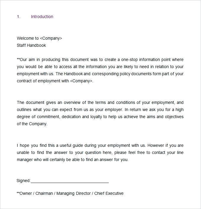 Employment Handbook Example Uk